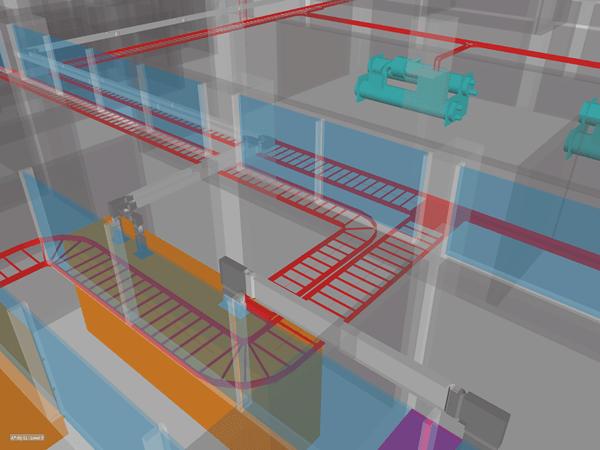 Bản vẽ hệ thống thang máng cáp dưới dạng 3D